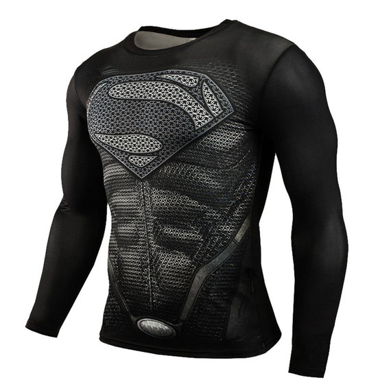 superman running shirt long sleeve marvel print tee