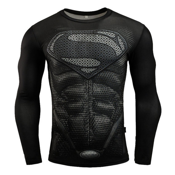 superman tight shirt long sleeve dc comics tee