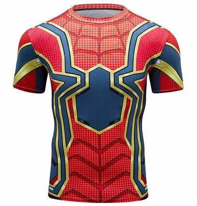 short sleeve spiderman workouts tee shirt for boys