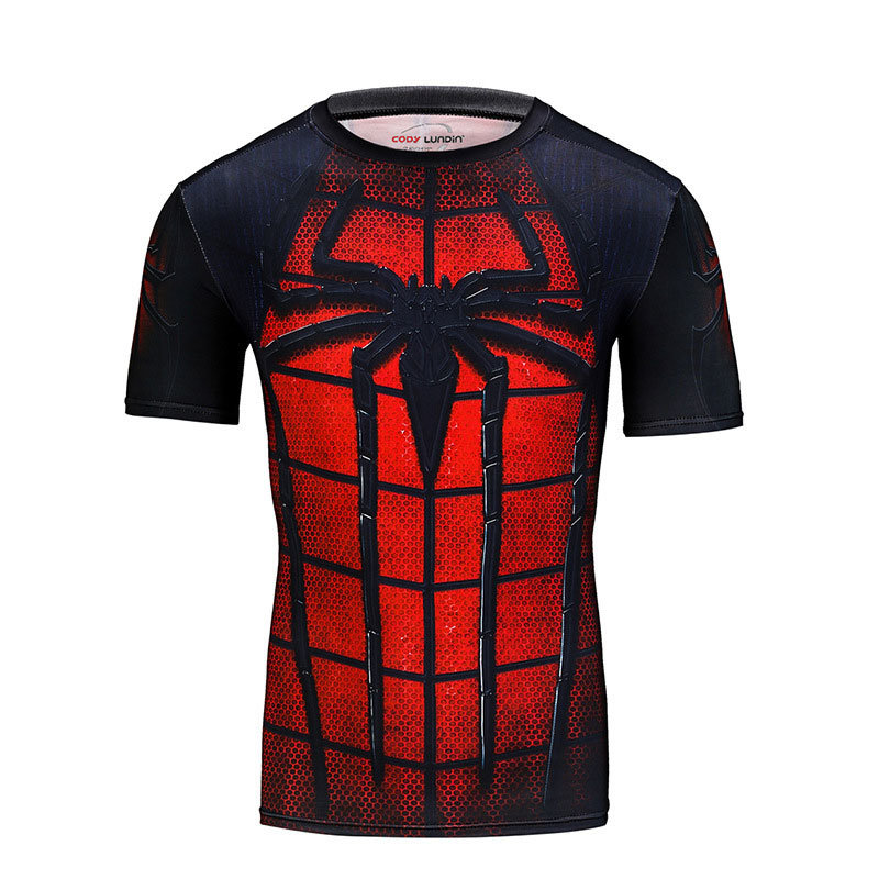 Red Spiderman Short Sleeve Compression Shirt
