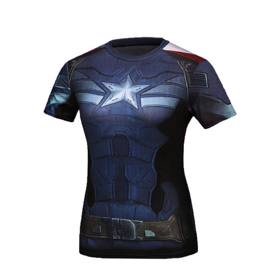 short sleeve captain america t shirts for ladies