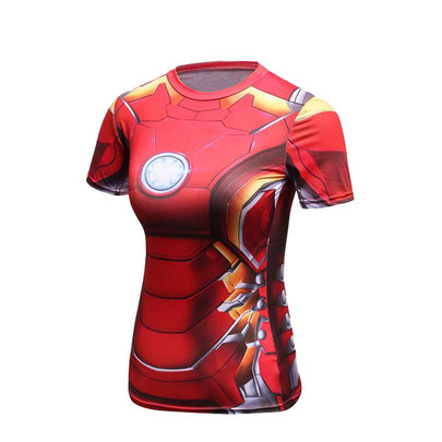 Red iron man compression shirt with Arc Reactor for girls