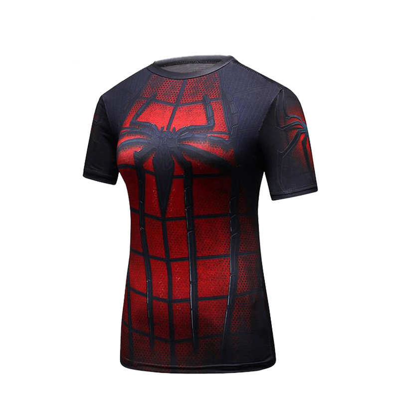 PKAWAY Fashion Graphic Tee Blue SpiderMen Compression Workouts Shirt Long Sleeve