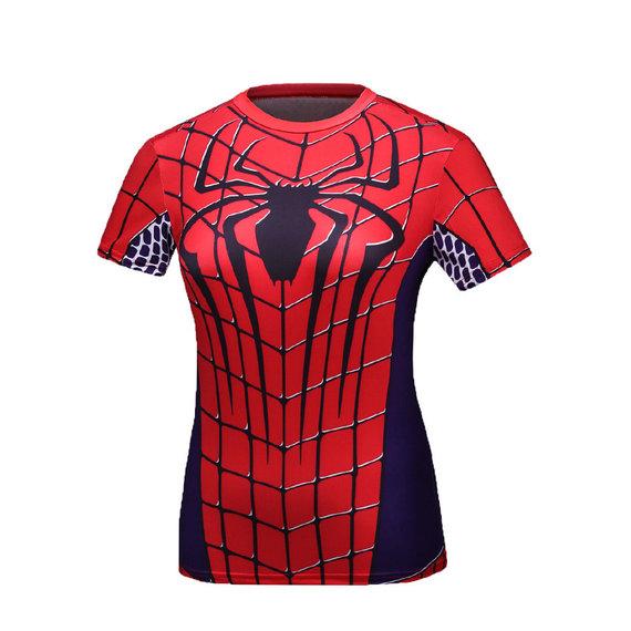 short sleeve spider man red shirt for girls