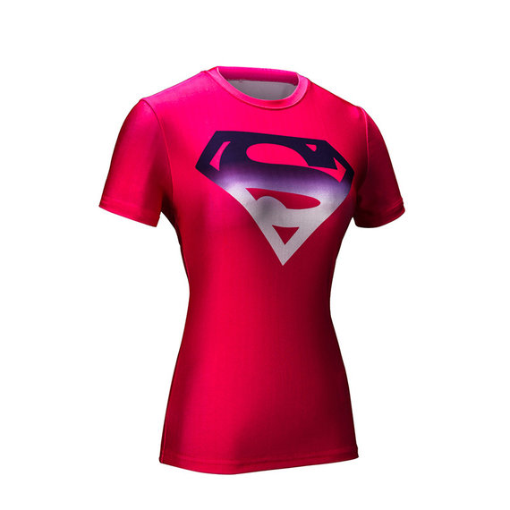 girls short sleeve dri fit superman t shirt black and red