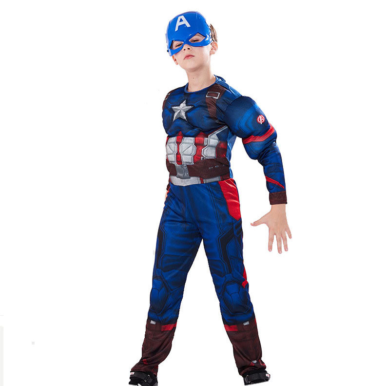 Avengers Captain America Muscle Cosplay Costume Jumpsuit
