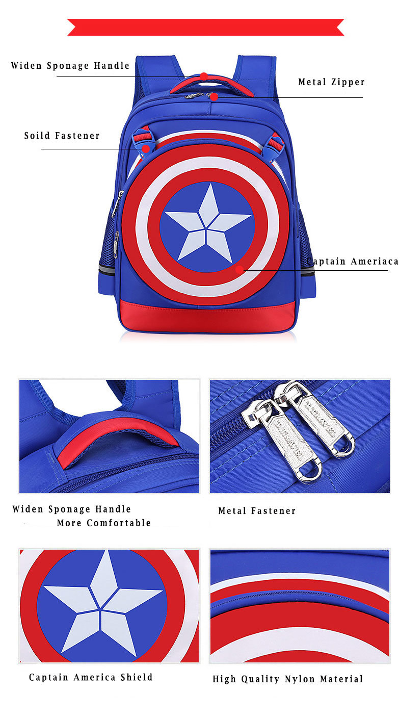 blue captain america shield backpack for kids