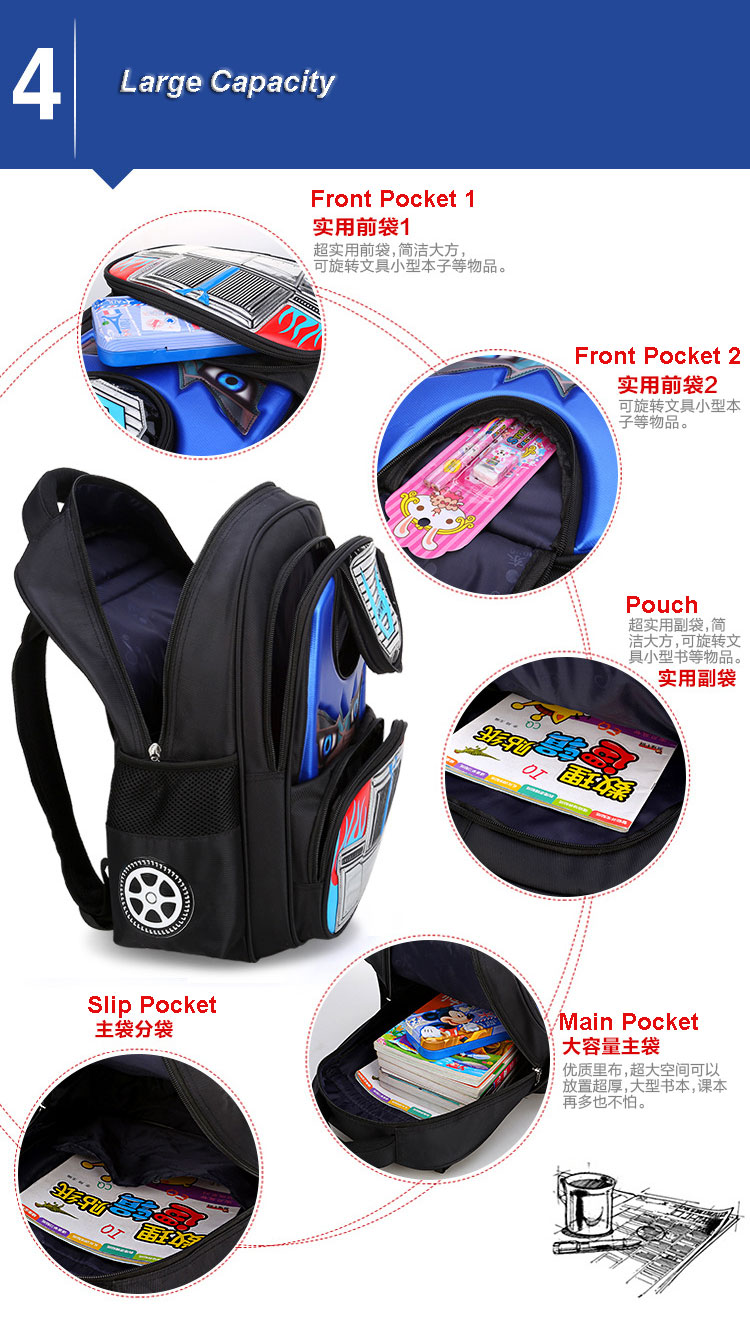 Transformers school bag with roomy pockets