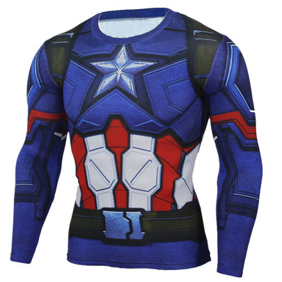 long sleeve captain america workout gear