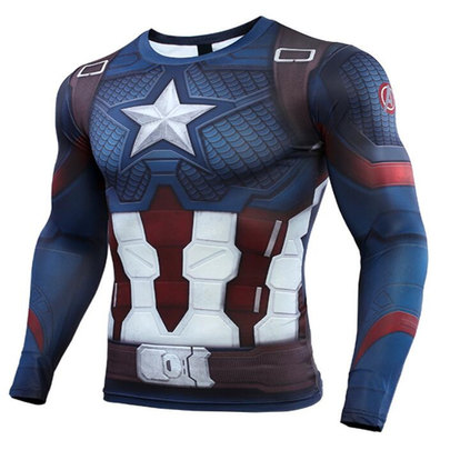 long sleeve captain america blue compression shirt