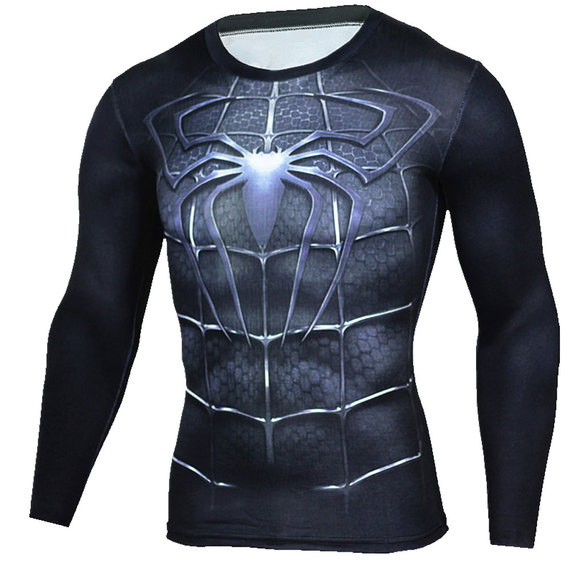 long sleeve black spiderman compression shirt