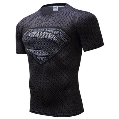 black superman workout shirt
