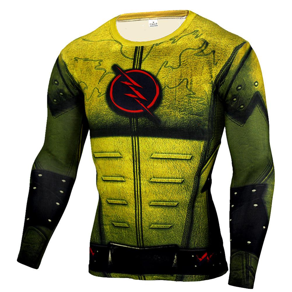 Long Sleeve Quick Dry DC Marvel The Flash Superhero Compression Shirt Yellow