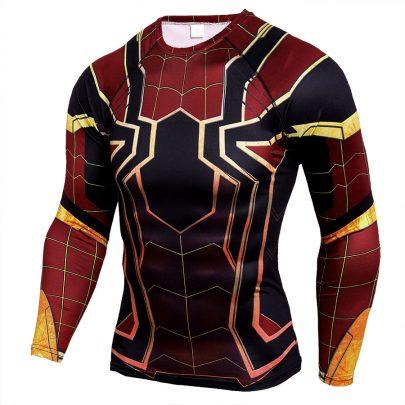 Long Sleeve DC Marvel Avengers Endgame Spider Man Superhero Compression Shirt