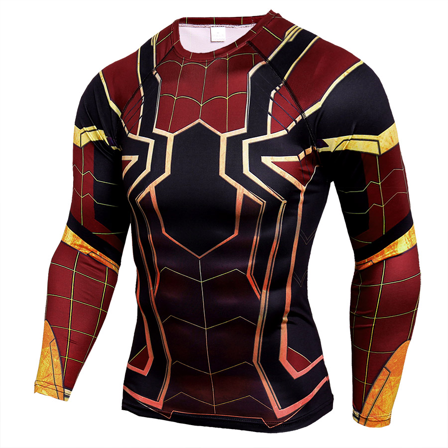 Long Sleeve DC Marvel Avengers Endgame Spider Man Superhero Compression Shirt