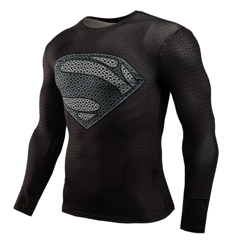 Long Sleeve Superman Compression Shirt Black