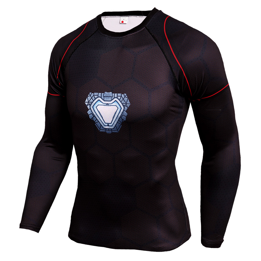 Long Sleeve Quick Dry DC Marvel Avengers Endgame Ironman Superhero Compression Shirt