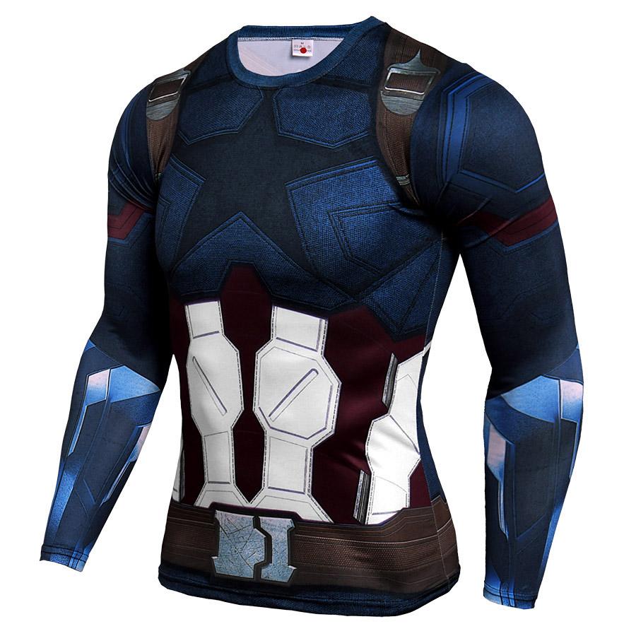 Long Sleeve DC Marvel Avengers Infinity War Captain America Compression Shirt