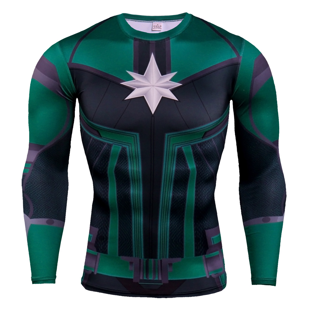 Long Sleeve DC Marvel Captain Marvel Superhero Compression Shirt Green