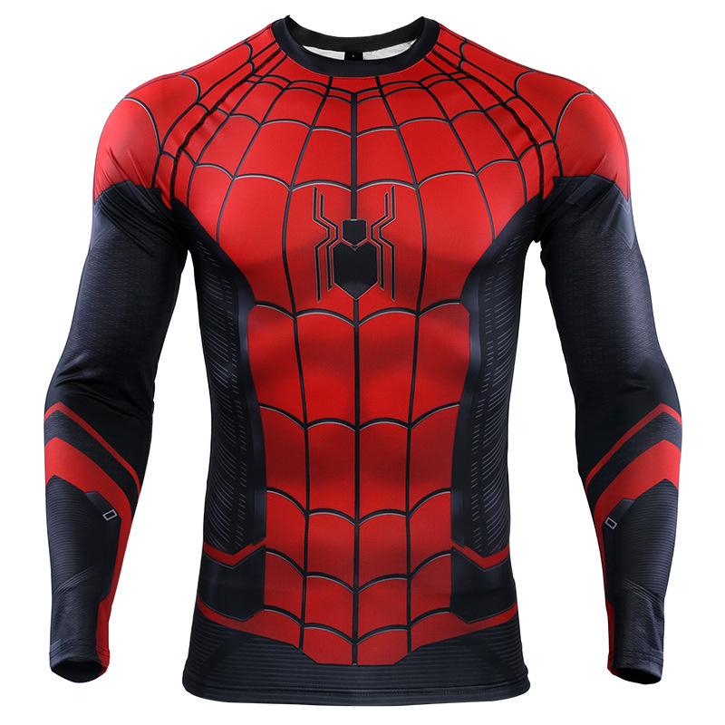 Long Sleeve DC Marvel Avengers Spider-Man Far From Home Superhero Compression Shirt