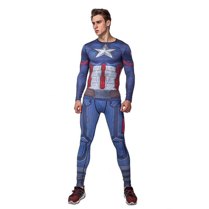 Marvel Captain America Suit,include long sleeve base shirt and pants