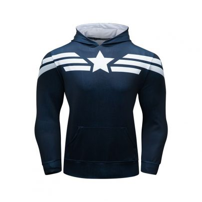 Long Sleeve Pullover Marvel Superhero Captain America Hoodie Navy Blue