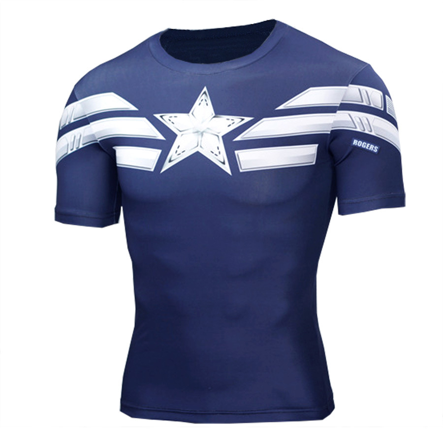 Short Sleeve slim fit The Winter Soldier Captain America Compression Shirt For Running