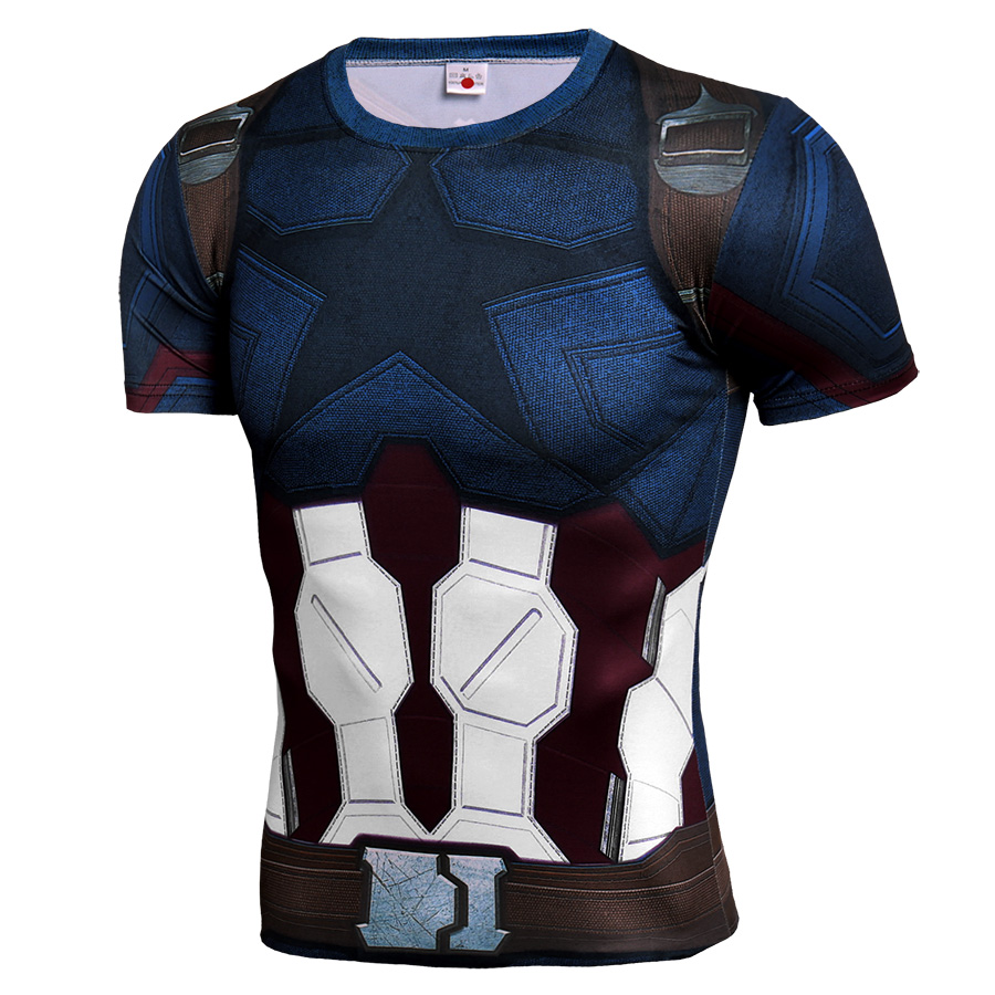 Short Sleeve Slim Fit Infinity War Captain America Compression Shirt For Workouts