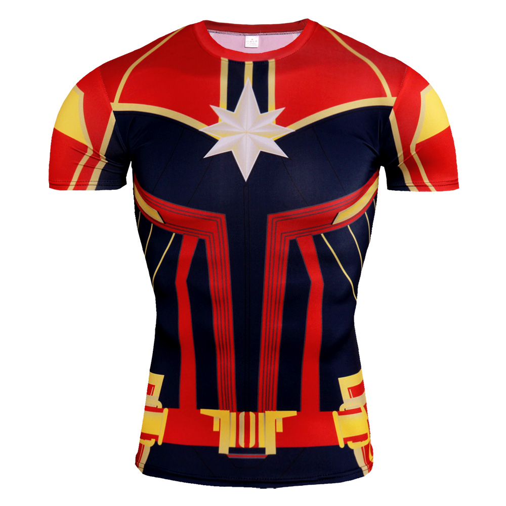 Short Sleeve Slim Fit Red Captain Marvel Compression Shirt For Fitness