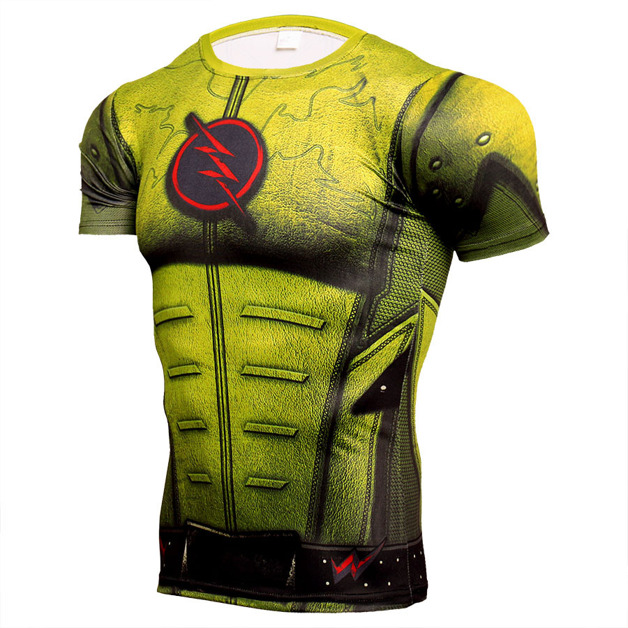 Short Sleeve Quick Dry The Yellow Flash Compression Shirt For Gym