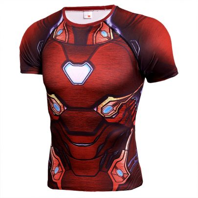 Short Sleeve dri fit Infinity War Iron Man Compression Shirt For Gym