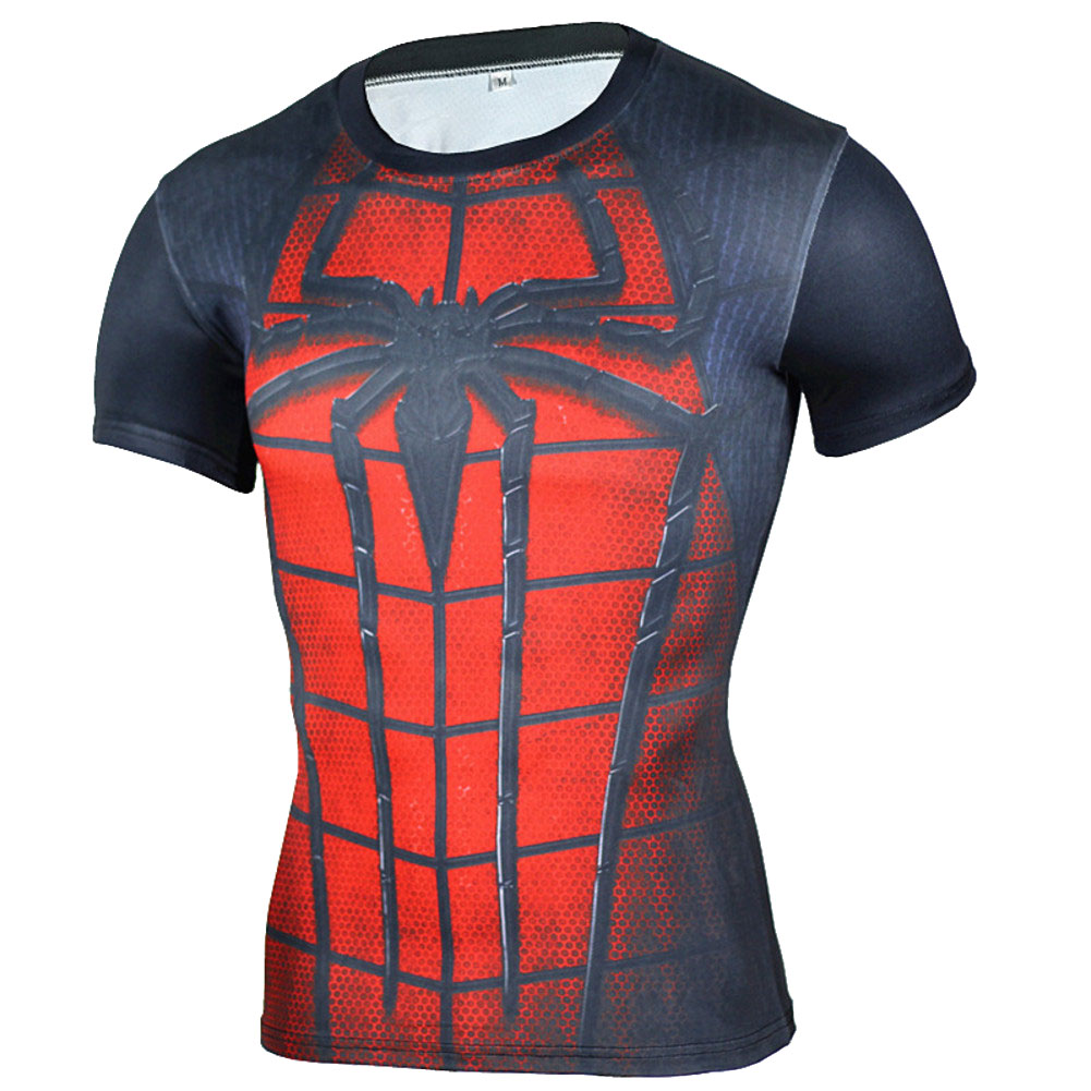 short sleeve slim fit dri fit Red Spider Man Compression Shirt For Gym