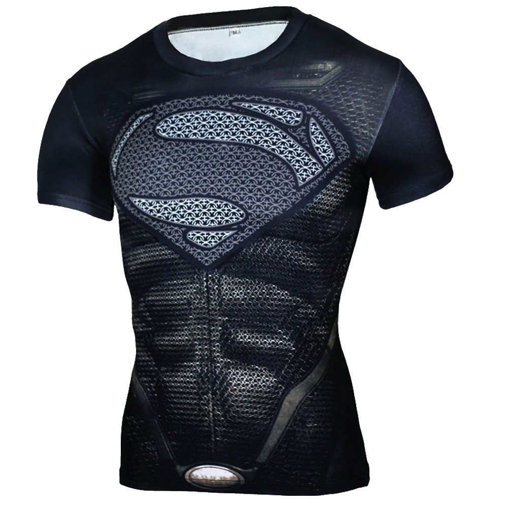 Short Sleeve Slim Fit Black Superman Compression Shirt For Running