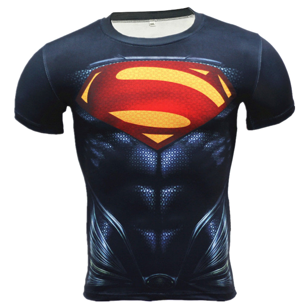 Short Sleeve Quick Dry Red And Black Superman Compression Shirt For Gym