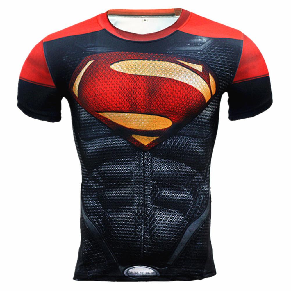 Short Sleeve Marvel Red Superman Compression Shirt For Fitness