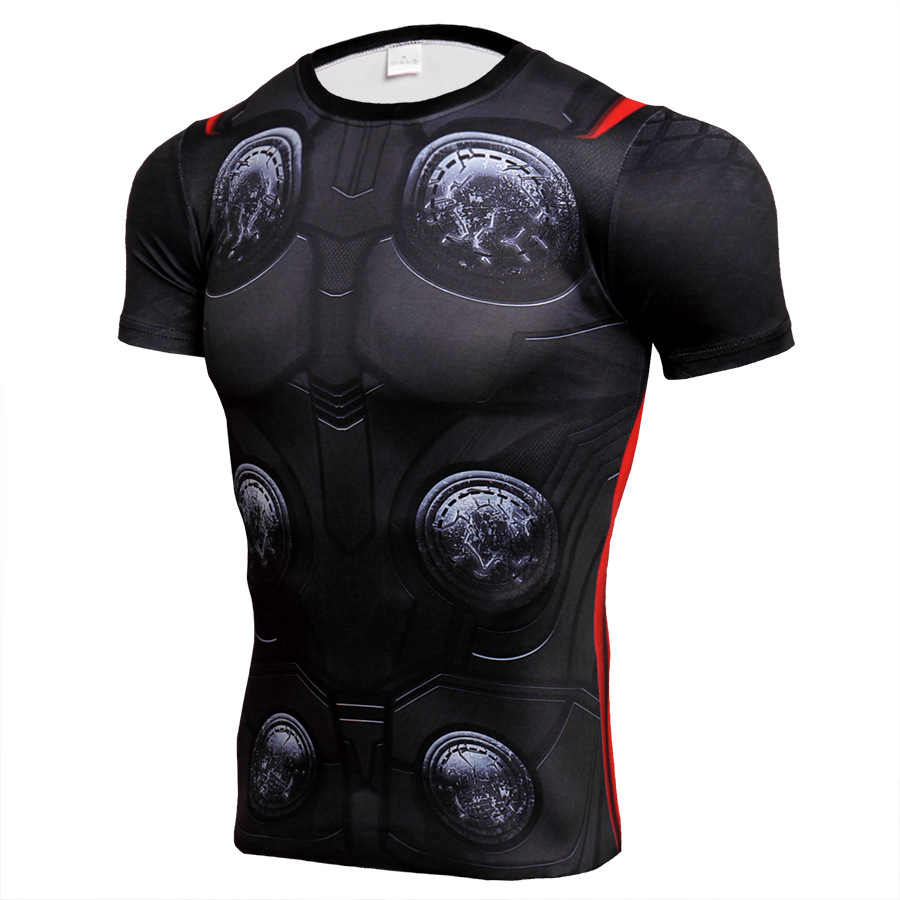 Short Sleeve dri fit Marvel Avengers Thor Compression Shirt For Gym