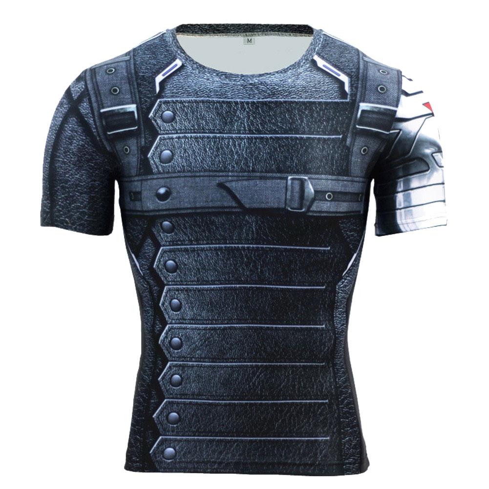 Short Sleeve Dri Fit Marvel Avengers Captain America Winter Soldier Compression Workouts Shirt