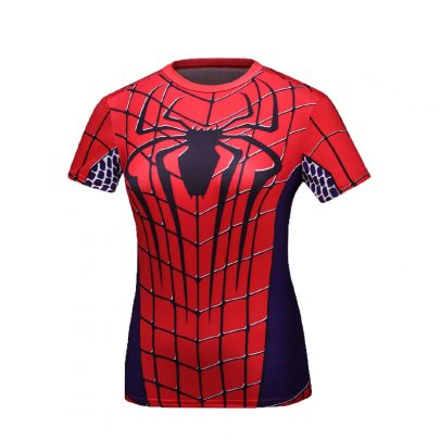 Short Sleeve Slim Dri Fit Red Spider Man Compression Workouts Shirt For Girls
