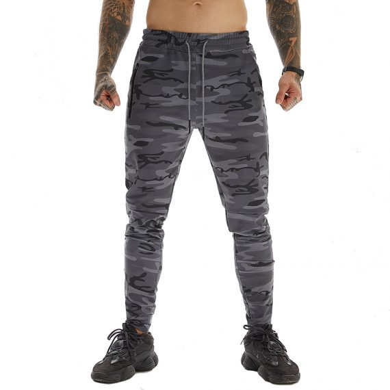 Camo Grey Long Pants For Running With Towel Loop