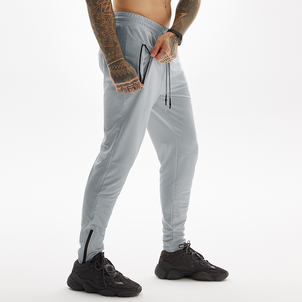 Grey Long Pants For Gym With Towel Loop