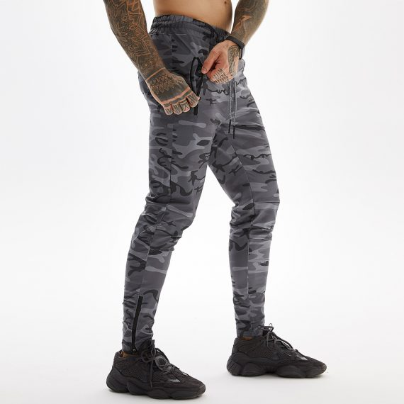Camo Grey Long Pants For Gym With Towel Loop