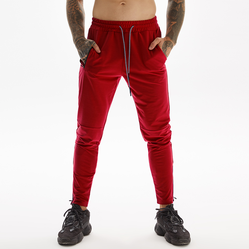 Red Long Pants For Gym With Towel Loop