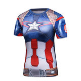Slim quick Dry blue captain america workout shirt for ladies