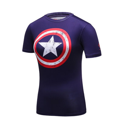 Slim Fit Quick Dry Short Sleeve Girls Captain America Marvel Shirt Purple