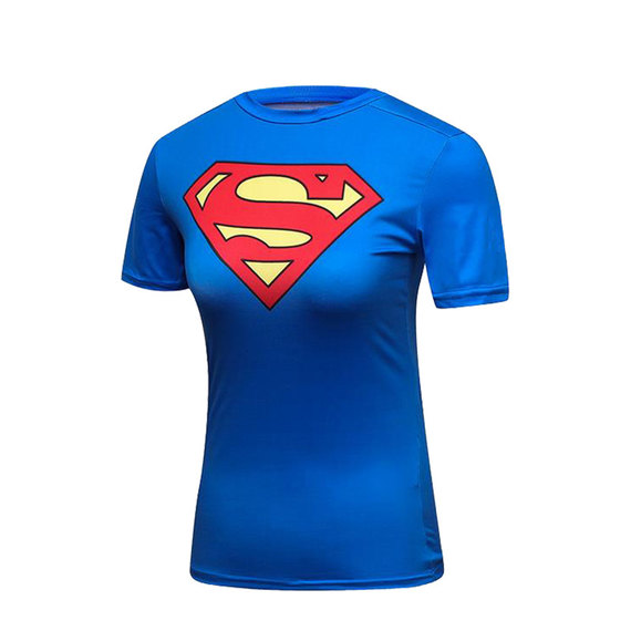 short sleeve blue with red superman logo t shirt for womens