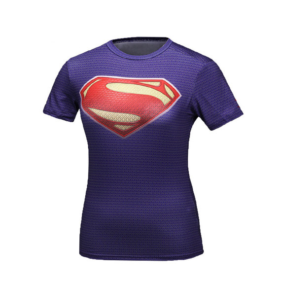Short Sleeve Quick Dry superman dri fit shirt for womens