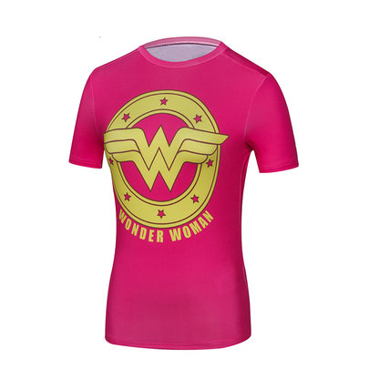 short sleeve dri fit wonder woman gym shirt pink