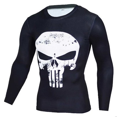 the punisher marvel t-shirt long sleeve White