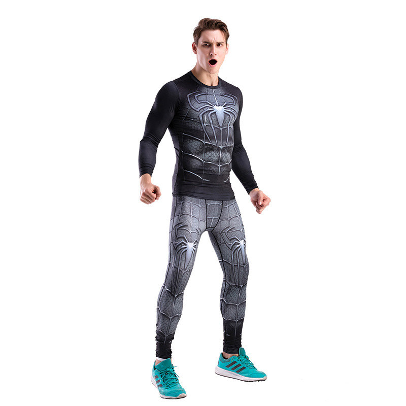 The Black Spider Man Compression Shirt And Pant