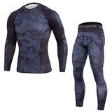men's long sleeve gym workout t shirt & seamless workout leggings